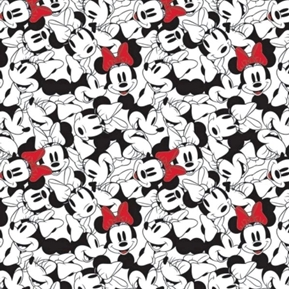 Disney Minnie Mouse Dreaming in Dots Toss Stacked White Cotton Fabric