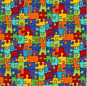 Bright Puzzle Pieces Autism Awareness Colorful Cotton Fabric
