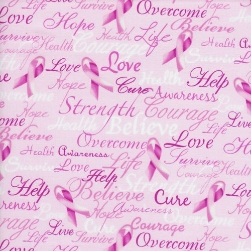 Breast Cancer Ribbons and Encouraging Words of Hope Pink Cotton Fabric