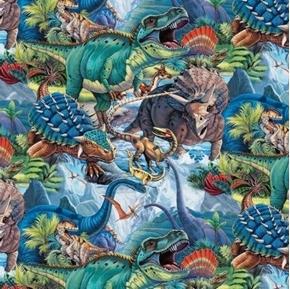 Dinotopia Dinosaurs in Prehistoric World Dinosaur Collage Cotton Fabric