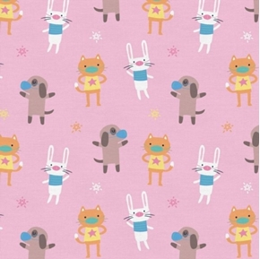 Mask Up Cats Dogs Bunnies Wearing Masks Pink Cotton Fabric