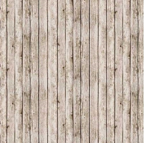 Landscape Medley Antique White Gray Barn Wood Planks Cotton Fabric