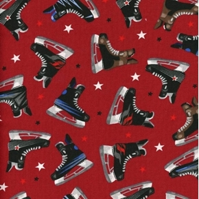 Hockey Gear Ice Hockey Skates Tossed Stars Wine Red Cotton Fabric