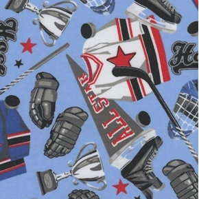 Hockey Gear Ice Hockey Equipment Trophy Pucks Blue Cotton Fabric