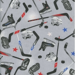 Hockey Gear Ice Hockey Sticks Pucks Skates Helmets Grey Cotton Fabric