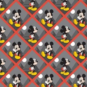 Disney Mickey Mouse Tile Cute Mickey in Gray Tiles Cotton Fabric