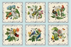 Secret Escape Exotic Birds and Butterflies Blue 24x44 Fabric Panel
