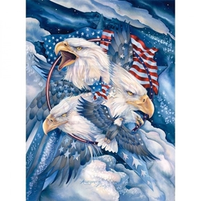 Patriotic Bald Eagles Flags Military Eagle Large Cotton Fabric Panel
