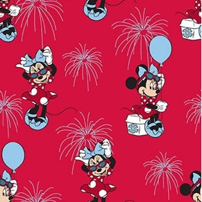 Disney Minnie Mouse Patriotic Minnie Fireworks Red Cotton Fabric