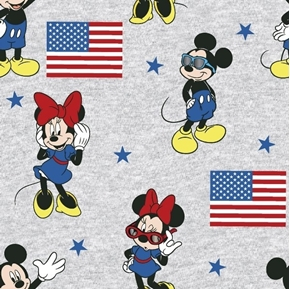 Disney Mickey and Minnie Mouse American Flag Patriotic Cotton Fabric
