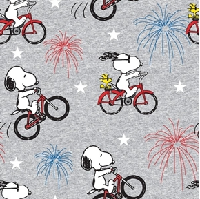 Patriotic Peanuts Snoopy and Woodstock Fireworks Bicycle Cotton Fabric