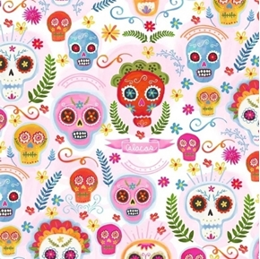 La Vida Loca Sugar Skulls Calacas Day of the Dead Blush Cotton Fabric