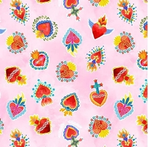 La Vida Loca Sacred Heart Fiesta Mexican Art Pink Hearts Cotton Fabric
