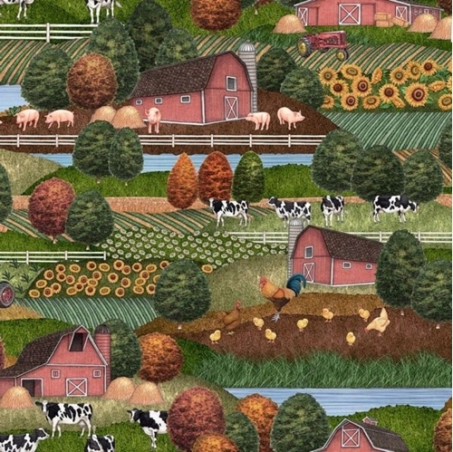 Greener Pastures Farm Scenic Country Folk Art in Color Cotton Fabric