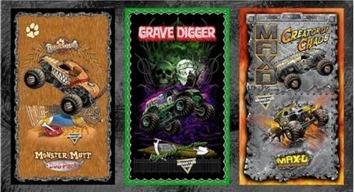 Monster Jam Monster Truck Grave Digger Dog Pack Cotton Fabric Panel
