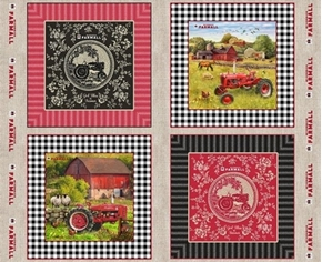 Farmall Farm Tractor God Bless the Farmer Cotton Pillow Panel Set