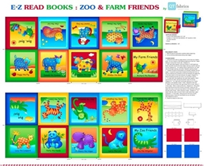 Sew and Go XIII Zoo and Farm Friends Cotton Fabric Book Craft Panel