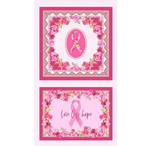 Love Pink Breast Cancer Scarf and Pillow 24x44 Cotton Fabric Panel Set