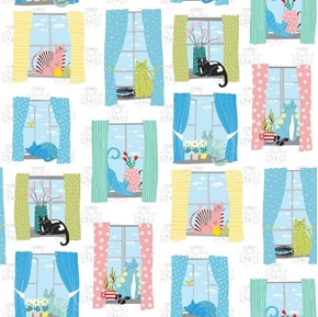 Whiskers Cats in Windows Cute Kitten and Cat White Cotton Fabric