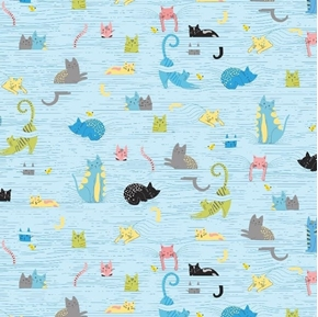 Whiskers Cats in Blinds Playful Kitten and Cat Blue Cotton Fabric