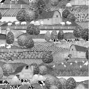 Greener Pastures Farm Scenic Country Folk Art in Gray Cotton Fabric