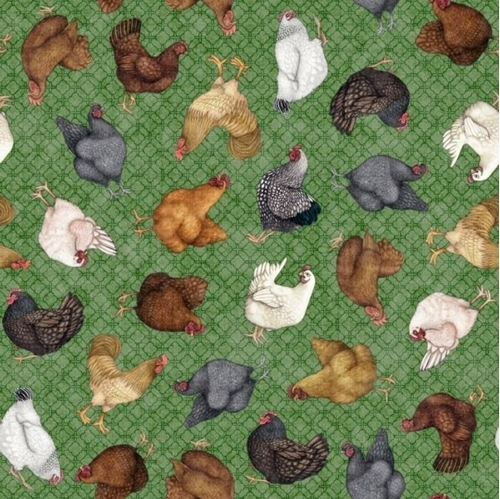 Greener Pastures Chickens Tossed on Green Folk Art Cotton Fabric
