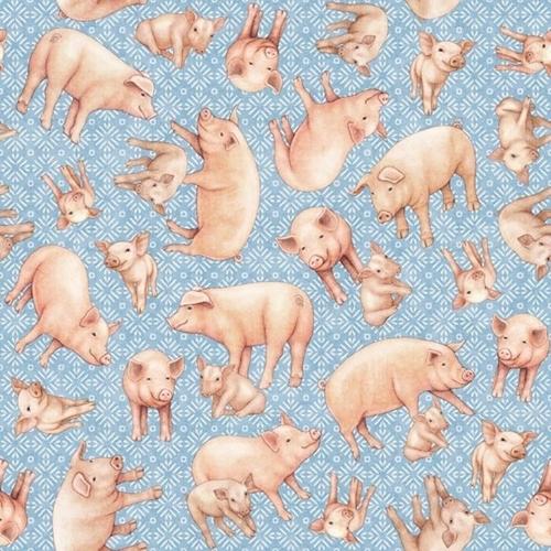 Greener Pastures Pigs Tossed on Blue Folk Art Cotton Fabric
