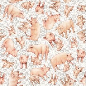 Greener Pastures Pigs Tossed on Gray Folk Art Cotton Fabric