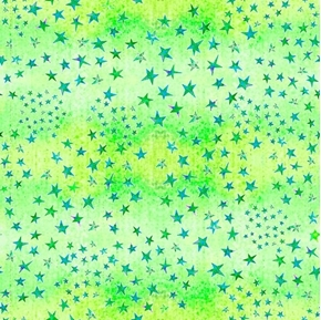 Dream Big Stars on Green Color Variation Cotton Fabric