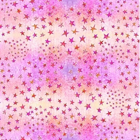 Dream Big Stars on Pink Color Variation Cotton Fabric