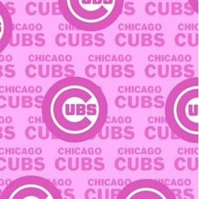 MLB Baseball Chicago Cubs Logos 2021 Pink Cotton Fabric