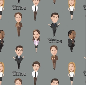 The Office TV Sitcom The Office Staff Grey Cotton Fabric