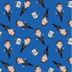 The Office TV Sitcom The Worlds Best Boss Blue Cotton Fabric