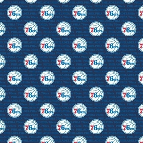 NBA Basketball Philadelphia 76ers Blue Cotton Fabric