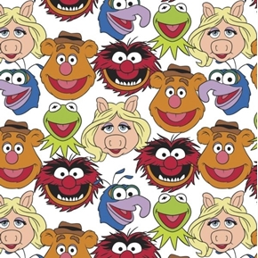 The Muppet Collection Sesame Street Muppet Cast White Cotton Fabric