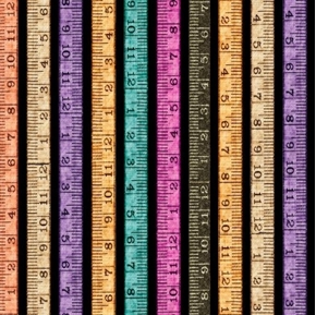 Tailor Made Tape Measure Stripe Sewing Rulers Black Cotton Fabric