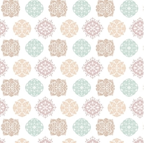 Omstoppable Namaste Pastel Mandalas Yoga Mandala White Cotton Fabric