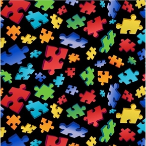 Puzzle Toss Puzzle Pieces Autism Awareness on Black Cotton Fabric