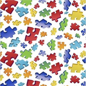 Puzzle Toss Puzzle Pieces Autism Awareness on White Cotton Fabric
