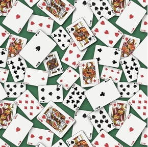 Casino Fun Playing Cards Tossed Poker Hand on Green Cotton Fabric