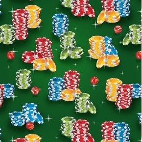 Casino Fun Poker Chip Stacks and Dice Gambling Green Cotton Fabric