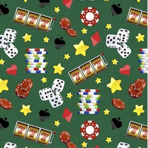 Casino Fun Gambling Chips Dice Slot Machine Stars Green Cotton Fabric