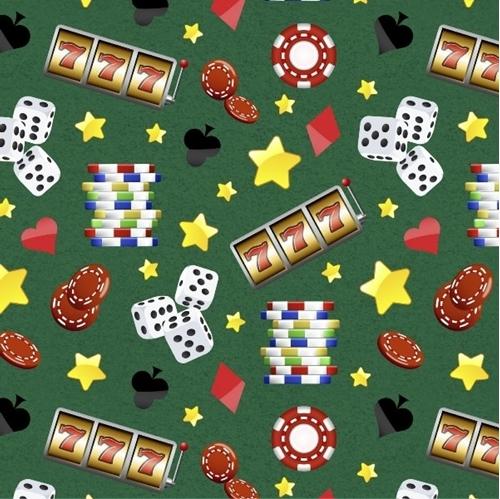 Casino Fun Gambling Chips Dice Slot Machine Stars Green Cotton Fabric