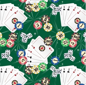 Casino Fun Poker Game Cards Chips Dice Green Gambling Cotton Fabric
