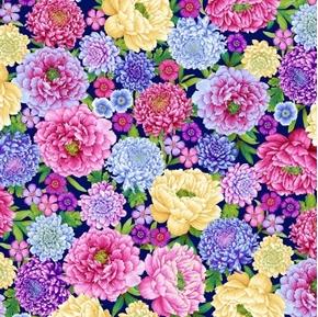 Gossamer Garden Large Floral Allover Colorful Flower Cotton Fabric