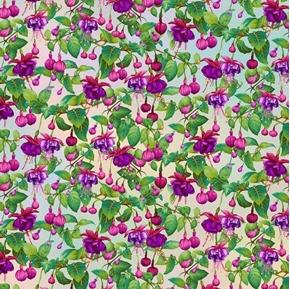 Gossamer Garden Fuchsia Flowers Hanging Purple Flower Cotton Fabric
