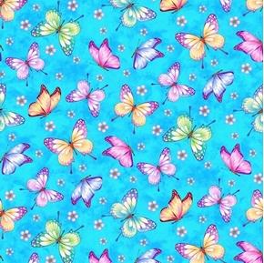 Gossamer Garden Butterflies and Flowers on Blue Cotton Fabric