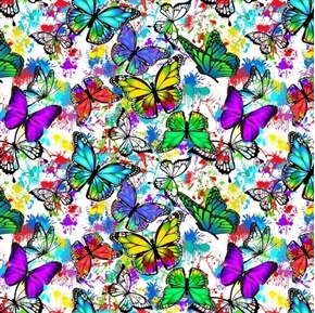Butterflies in Flight Color Splatter Colorful Butterfly Cotton Fabric