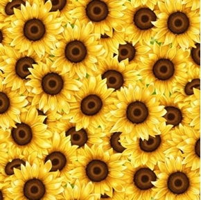 Sunny Sunflowers Cheerful Sunflower Flowers Packed Cotton Fabric