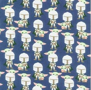 Star Wars The Mandalorian II Hello Friend Baby Yoda Navy Cotton Fabric